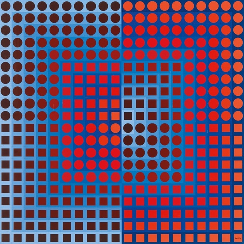 Victor Vasarely - Zoeld I (Blue/Red)