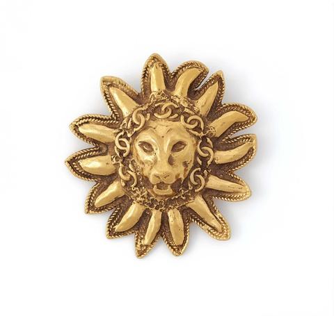 Brosche mit Löwenmaskaron von Chanel, 1980er Jahre -
