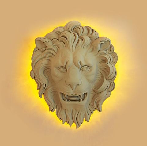 Großer Löwenmaskaron als Wandleuchte, Winter 2009 -