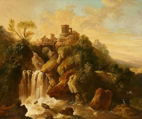 Christian Wilhelm Ernst Dietrich, gen. Dietricy, nach - Die Wasserfälle von Tivoli mit dem Vestatempel