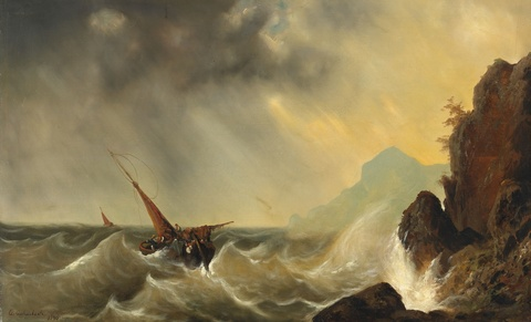 Andreas Achenbach - A Ship in Rough Seas
