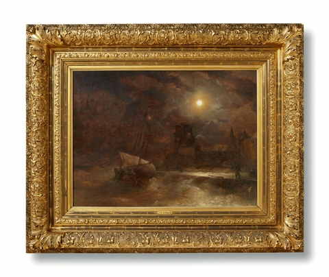 Andreas Achenbach - Coastal Landscape by Moonlight