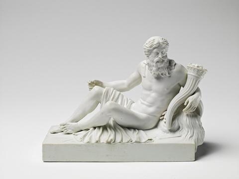 A Berlin KPM allegorical biscuit porcelain model of the river Thames -