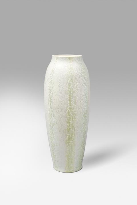 Vase mit hellgrüner Kristallglasur -