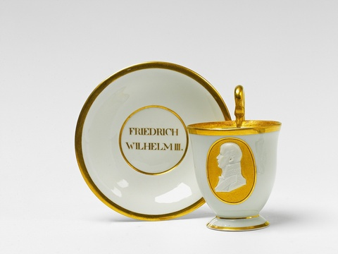 A Berlin KPM porcelain cup and saucer with a portrait of Frederick William III -