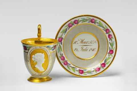 A Berlin KPM porcelain cup and saucer with a portrait of Queen Louise -