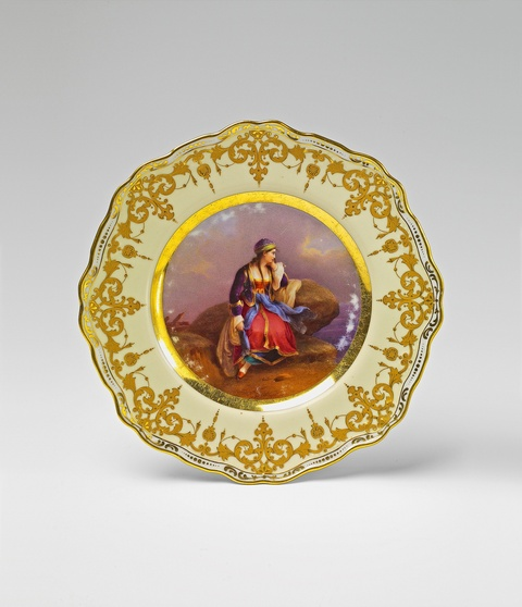 A St. Petersburg porcelain plate with a motif from a painting -