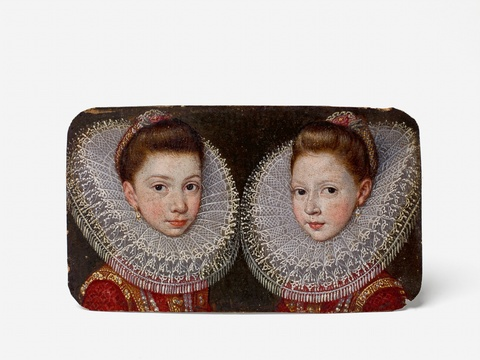 A double portrait miniature of two young Infantas -