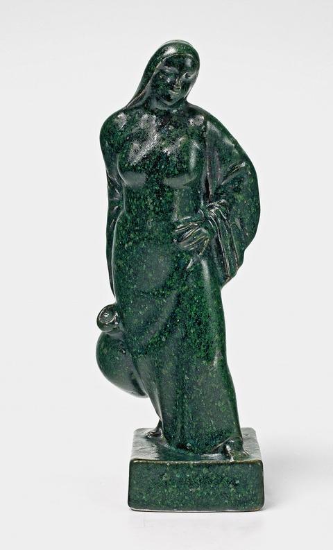 "A green and blue glazed stoneware figure ""Wasserträgerin"" -"