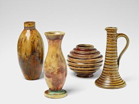 Four feldspar and copper glazed stoneware vases with varying decor -