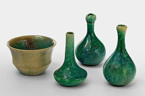 Three small Celadon glazed stoneware vases -