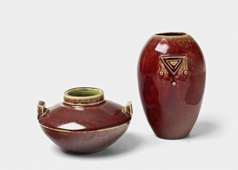 Two small feldspar glazed stoneware vases -