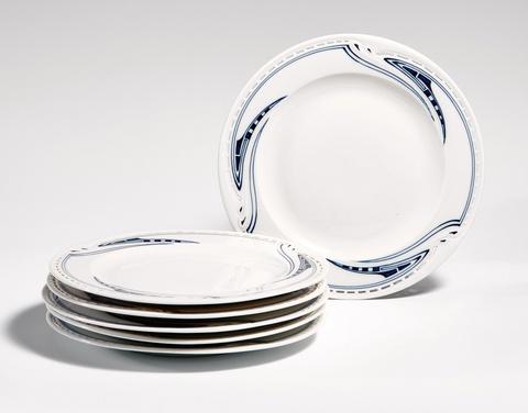 A set of six Meissen porcelain dessert plates by Henry van de Velde -