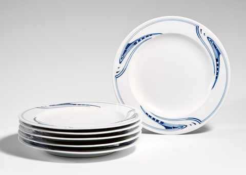 A set of six Meissen porcelain dinner plates by Henry van de Velde -