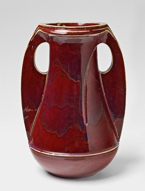 A large red feldspar glazed stoneware vase -