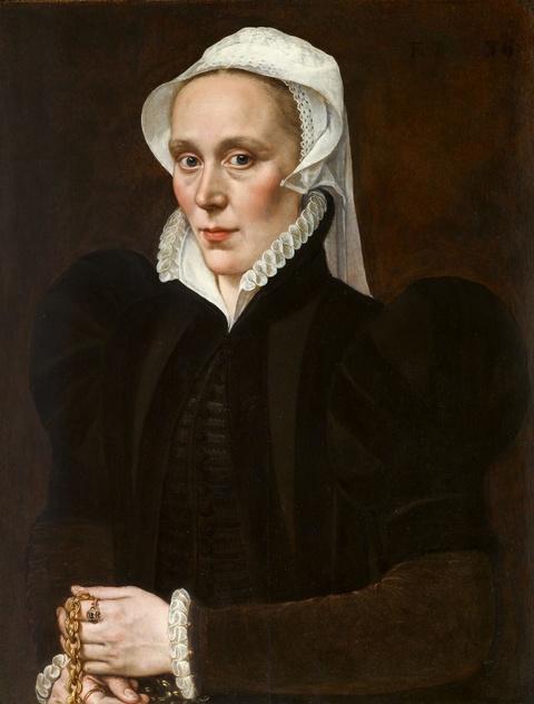 Adriaen Thomasz Key - Bildnis einer Dame, die eine goldene Kette mit Anhänger in der Hand hält