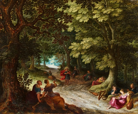 Frans Francken the Younger and studio Abraham Govaerts and studio - Flemish Forest Landscape with Apollo and the Nine Muses