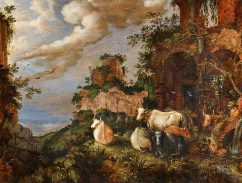 Roelant Savery - Rinder vor antiken Ruinengewölben