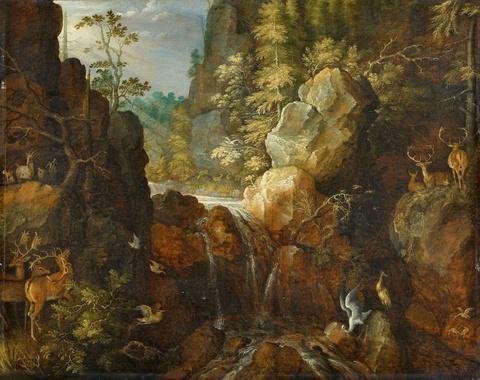 Roelant Savery - Gebirgslandschaft mit Storch und Hirschen bei einem Wasserfall
