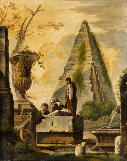 Giovanni Ghisolfi - Two Architectural Capriccios with Ruins and Figures