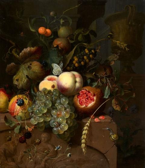 Jan Mortel - Stillleben mit Pfirsichen, Trauben, Äpfeln und einem Granatapfel auf einem Steinrelief