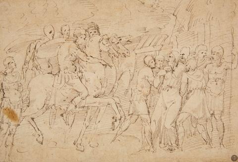 Girolamo Sellari, gen. da Carpi, zugeschrieben - Römische Soldaten bei der Gefangennahme eines alten Mannes