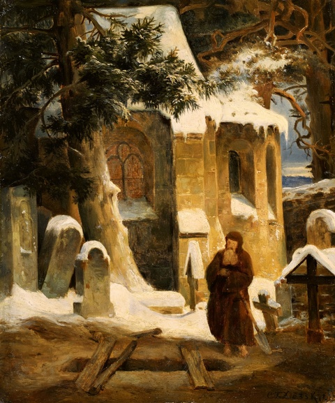 Carl Friedrich Lessing - Study for a Painting of an Abbey Graveyard in the Snow
