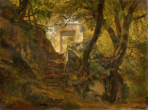 Heinrich Bürkel - Italienisches Landschaftsmotiv in den Bergen