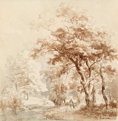Barend Cornelis Koekkoek - Bewaldete Landschaft mit Reiter