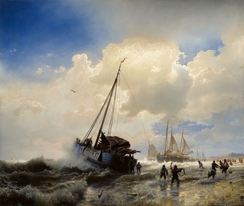 Andreas Achenbach - Sailing Ships on a Beach