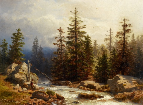 Andreas Achenbach - Forest Landscape with an Angler