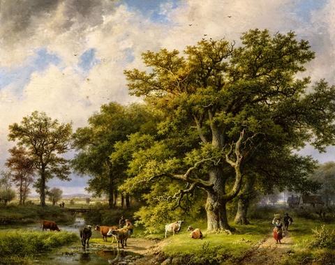 Barend Cornelis Koekkoek - Waldrand mit Kuhtränke