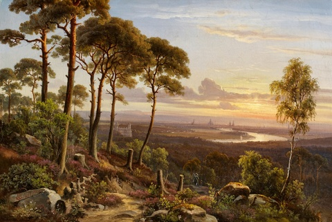 Anton Castell - Forest Landscape with a View of Dresden and the Elbe