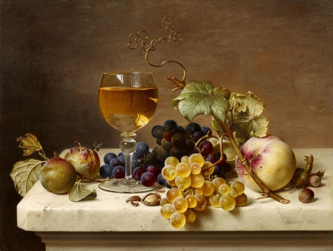 Johann Wilhelm Preyer - Fruit Still Life with Greengages, a Glass of Wine, Grapes, Peaches, and Hazelnuts on a Marble Slab