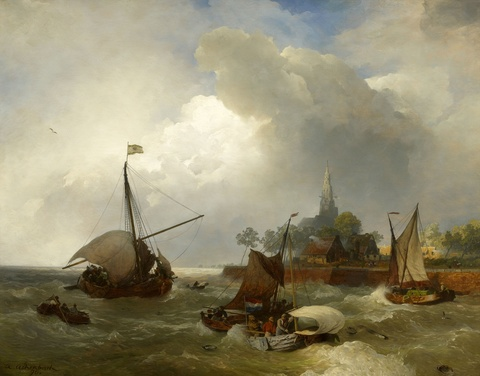 Andreas Achenbach - The Harbour at Emden on the Dollart