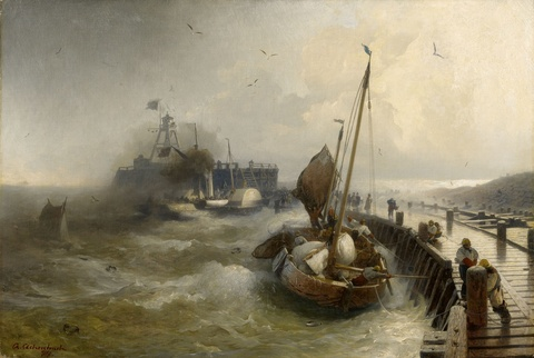 Andreas Achenbach - Storm at Ostende Harbour