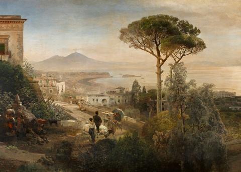 Oswald Achenbach - Coastal Landscape on the Bay of Naples