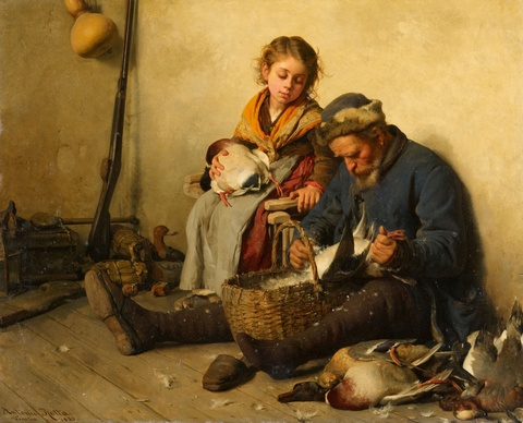 Antonio Rotta - Interior Scene with a Grandfather and Granddaughter plucking Ducks
