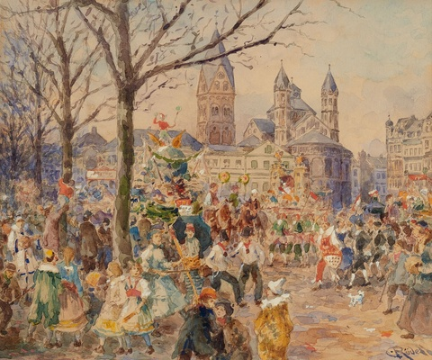 Carl Rüdell - Carnival at Cologne Neumarkt