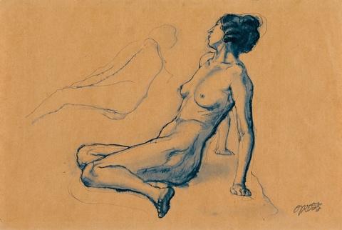 George Grosz - Sitzender weiblicher Akt