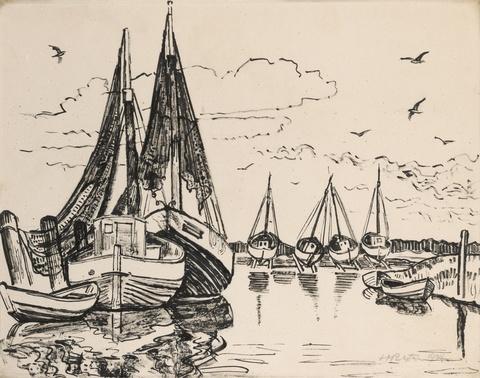 Hermann Max Pechstein - Fischerboote auf Leba