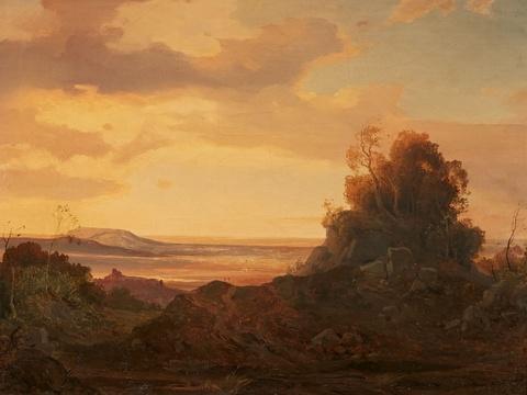 Deutscher Künstler der 1. Hälfte des 19. Jahrhunderts - Romantische Landschaft im Abendlicht