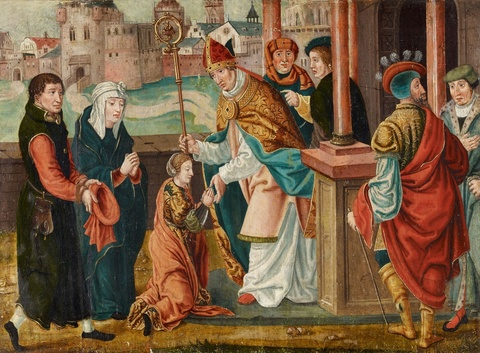 German School circa 1520 - Two Scenes from the Life of Saint Barbara