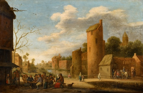 Joost Cornelisz. Droochsloot - Landscape with a Fortified Town and Peasants by a Tavern