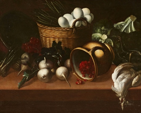Spanish School 17th century - Still Life with a Basket, Fallen Jug, and Vegetables
