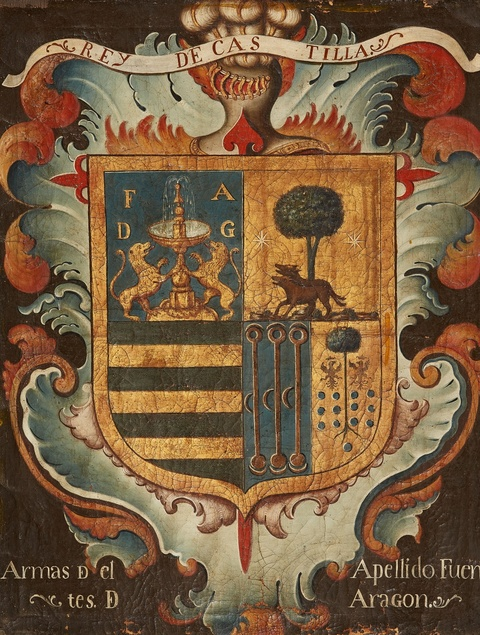 "Spanish School 18th century - Coat-of-Arms ""Rey de Castilla / Armas D cl Apellido Fuen / tes D Aragon"""