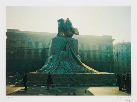 Christo - Wrapped Monument to Vittorio Emanuele, Piazza del Duomo, Milan, 1970