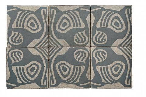 Six Jugendstil stoneware tiles -