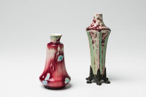 Zwei Vasen mit expertimentellen Glasuren -