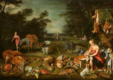Jan Brueghel d. J., Umkreis Hendrick van Balen, Umkreis - Landschaft mit Diana und Jagdbeute